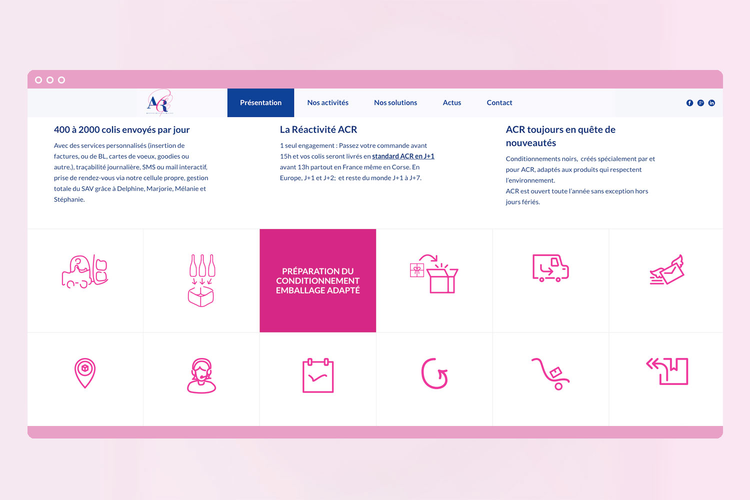 Page web refonte du site Ardennes Copacking Routage